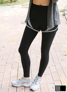 66GIRLSContrast Tone Accent Shorts Leggings
