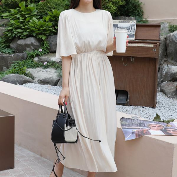 Elastic Waist Midaxi Dress