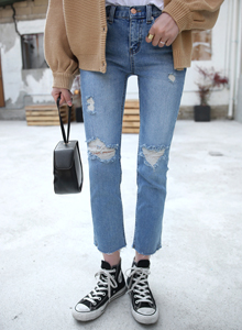 66GIRLSCropped Distressed Straight-Cut Jeans