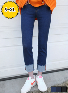 66GIRLSRaw Roll-Up Hem Jeans