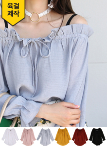 66GIRLSFrill Accent Drawstring Blouse