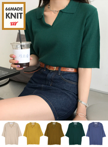 66GIRLSHalf Sleeve Knitted Johnny Collar Top