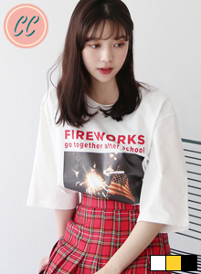 66GIRLSFIREWORKS Lettering and Graphic Print T-Shirt