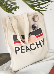 66GIRLSPEACHY Print Tote Bag