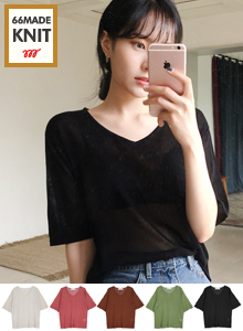 66GIRLSV-Neck Short Sleeve Knit Top