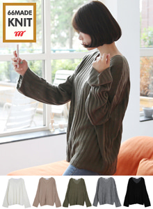 66GIRLSV-Neck Wide Sleeve Loose Fit Knit Sweater