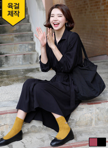 66GIRLSExtended Sleeve Tie-Waist Shirt Dress