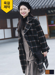 66GIRLSCheck Print Concealed Snap Button Coat