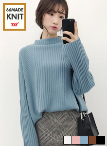 66GIRLSRibbed High Neck Sweater