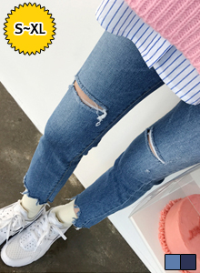 66GIRLSSlash Accent Jagged Hem Jeans