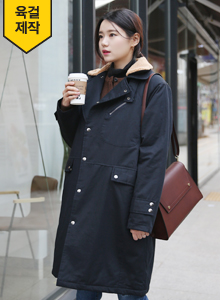 66GIRLSContrast Collar Snap Button Coat