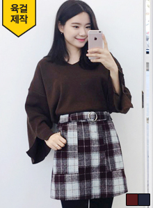 66GIRLSRound Buckle Belted Check Print Skirt