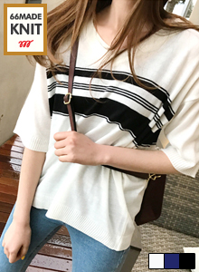 66GIRLSKnitted Stripe Pattern Top