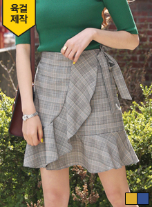 66GIRLSSelf-Tie Faux Wrap Prince of Wales Check Skirt
