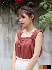 66GIRLSRuched Linen Sleeveless Top